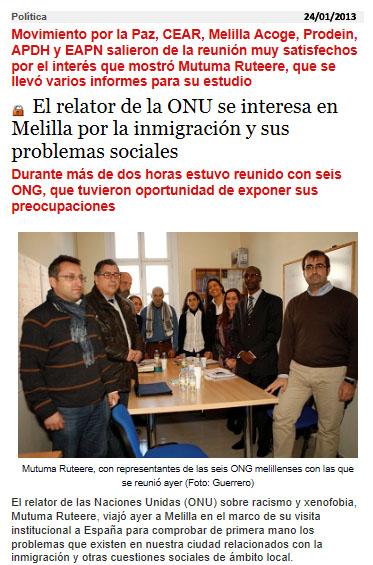 Durante su visita a Melilla (imágen del Diario Melilla Hoy)
